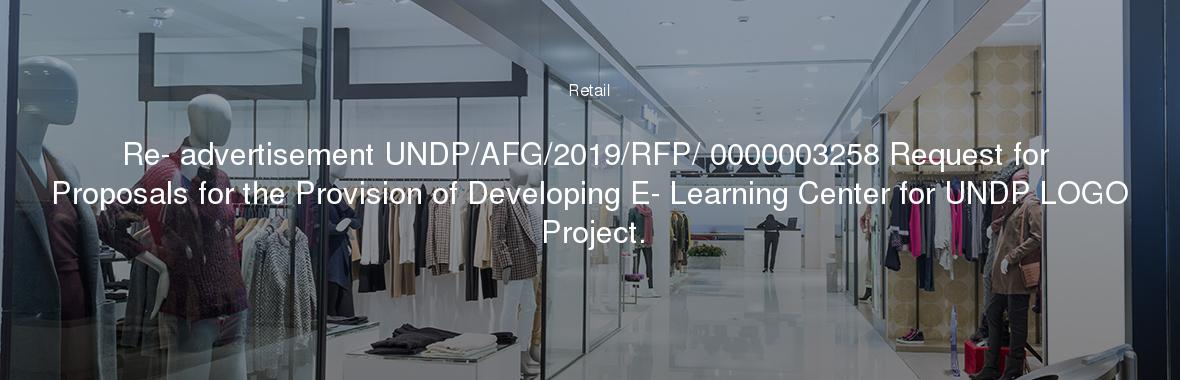 Re- advertisement UNDP/AFG/2019/RFP/ 0000003258 Request for